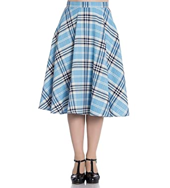 13387852ed238e Hell Bunny 50s Tartan Skirt Aberdeen Hogmony Dora LEE Blue White S 10