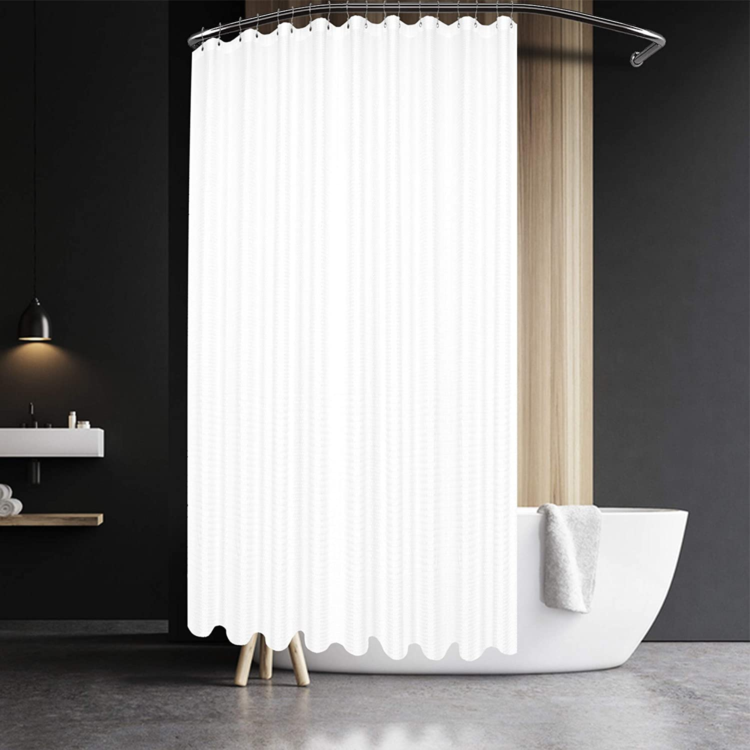 Fabric Shower Curtain Plain White Extra Wide Extra Long Standard With Hooks