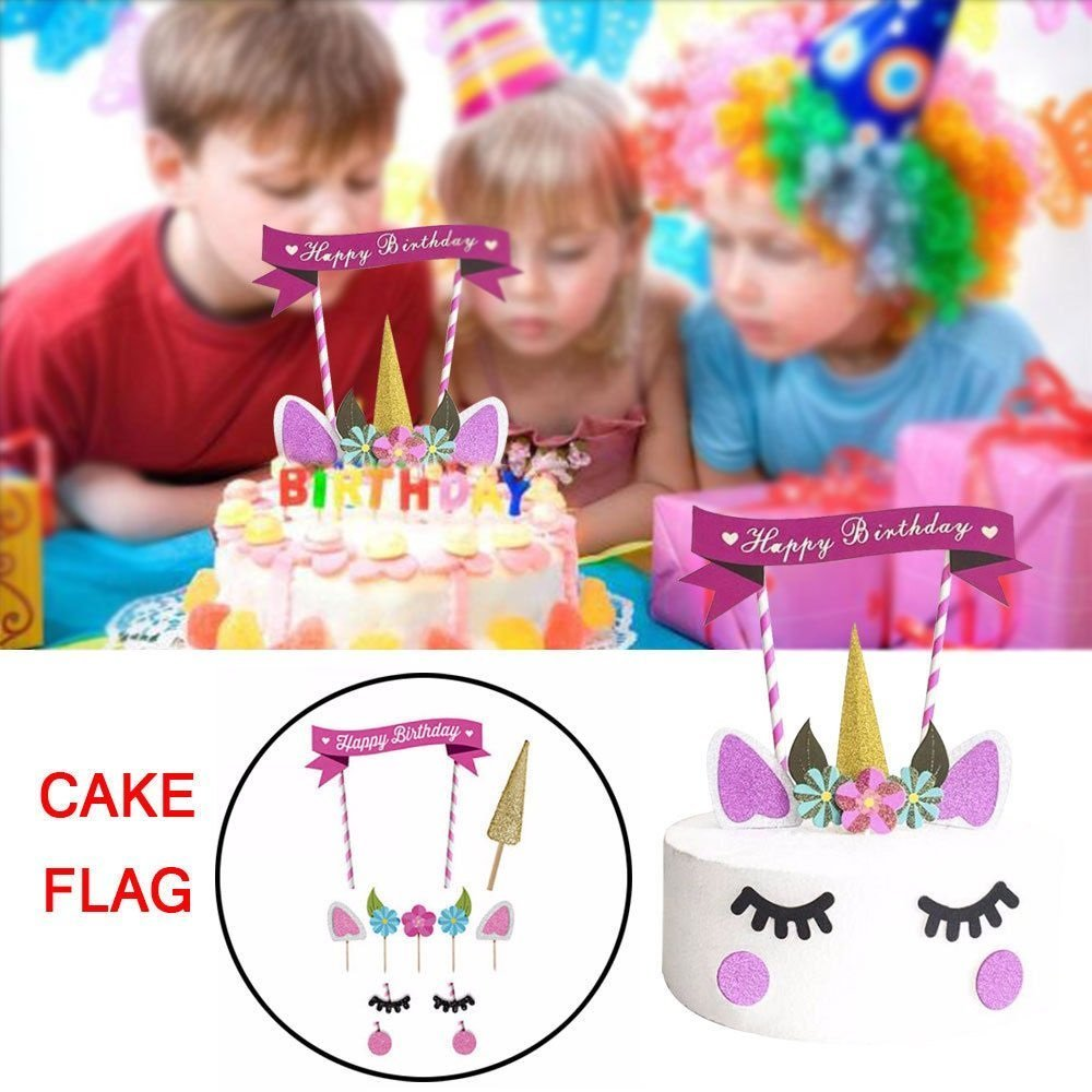 Pink Theme Baby Girl Unicorn Cake Toppers Unicorn Horn Ears Cake Decorations Cupcake Toppers Baby Birthday Party Decorations