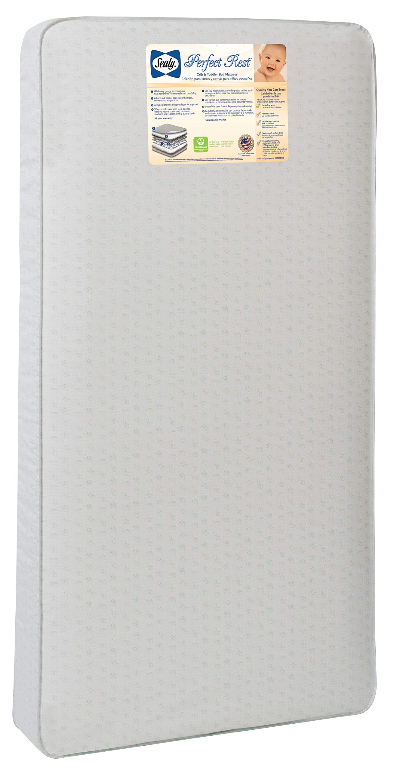 Sealy Perfect Rest Waterproof Toddler & Baby Crib Mattress - 150 Extra Firm Coils, 51.7'' x 27.3'' by Sealy