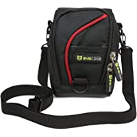 Compact Camera Case Evecase Digital Camera Pouch Carrying Protector Bag with Shoulder Strap - Black/Red for Canon PowerShot/Nikon Coolpix Point and Shoot Compact Camera/Fujifilm Instant Camera