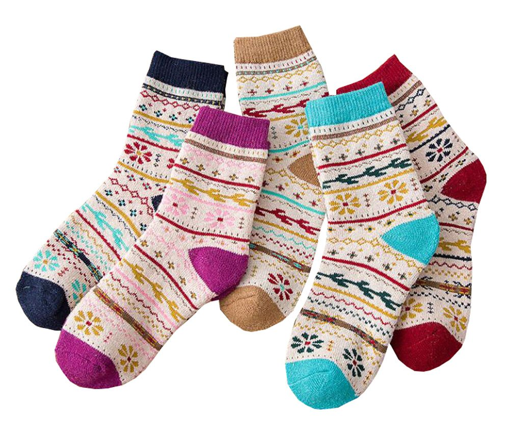 5 Paar Damen Vintage Style Crew Socken Black Temptation
