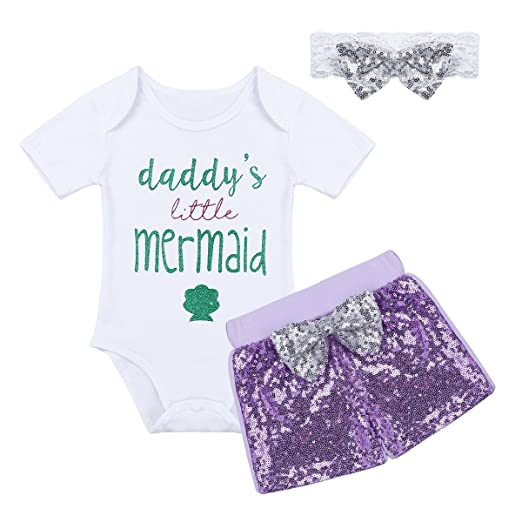 d6574ae6bb13 Amazon.com  YiZYiF Baby Girls Glitter Letter ONE Birthday Fancy Party Skirt  Outfit Sets Princess Little Mermaid Costume  Clothing