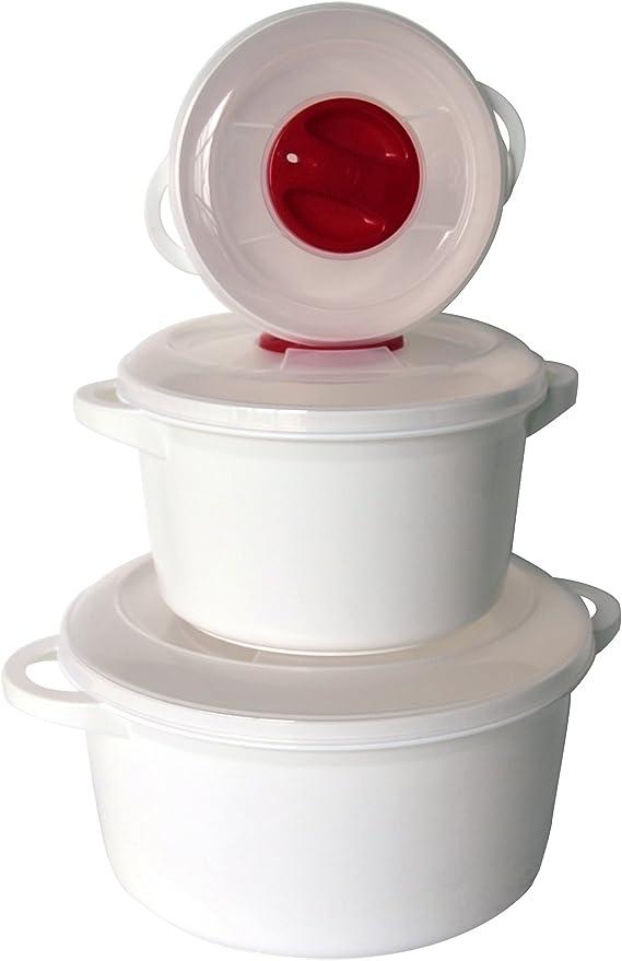 mondex PLS1043-00 - Juego de 3 ollas Altas aptas para microondas ...