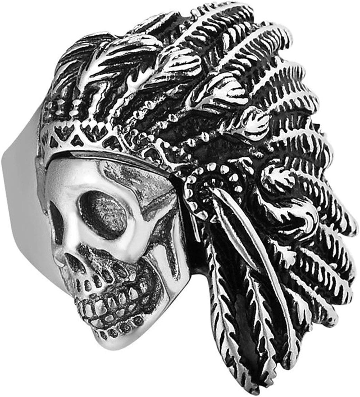 Bishilin Anillos Acero Inoxidable para Hombres Anillo de Bodas Cool Simple Band Cráneo de Los Indios Anillos Góticos Joyería de Moda Plata