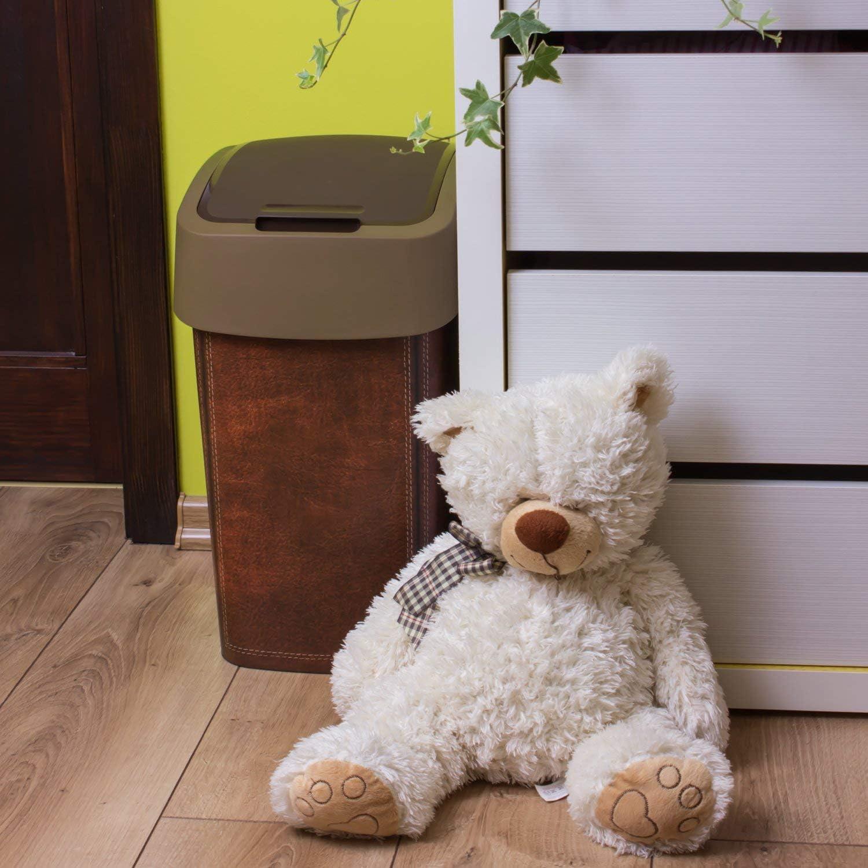 leather design kitchen home plastic swing bin CURVER 25 litre flip bin