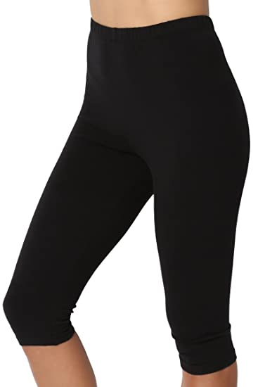 ae7c548a07f TheMogan Women s Basic Cotton Spandex Below Knee Length Leggings Black S