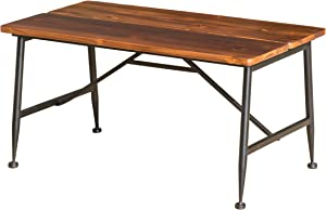 Christopher Knight Home Ocala Outdoor Industrial Wood Coffee Table with Iron Accents, Black / Antique Finish