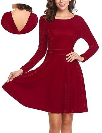 7e1c179db0 ELESOL Women Long Sleeve Deep V Back Solid Fit Flare Swing Red Velvet Dress  Medium
