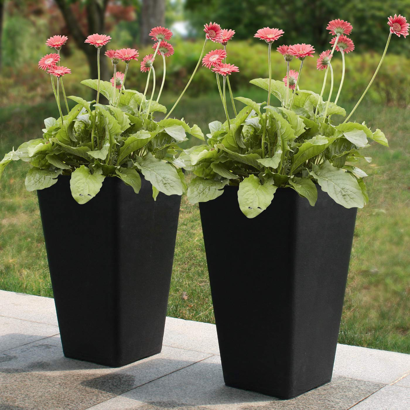 Tall Planters 20 Inch, Flower Pot Pack 2, Patio Deck Indoor Outdoor Garden Tree Resin Planters Black