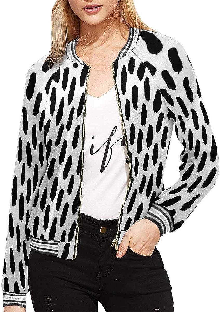 INTERESTPRINT Womens Black White Pattern Baseball Jacket Coat