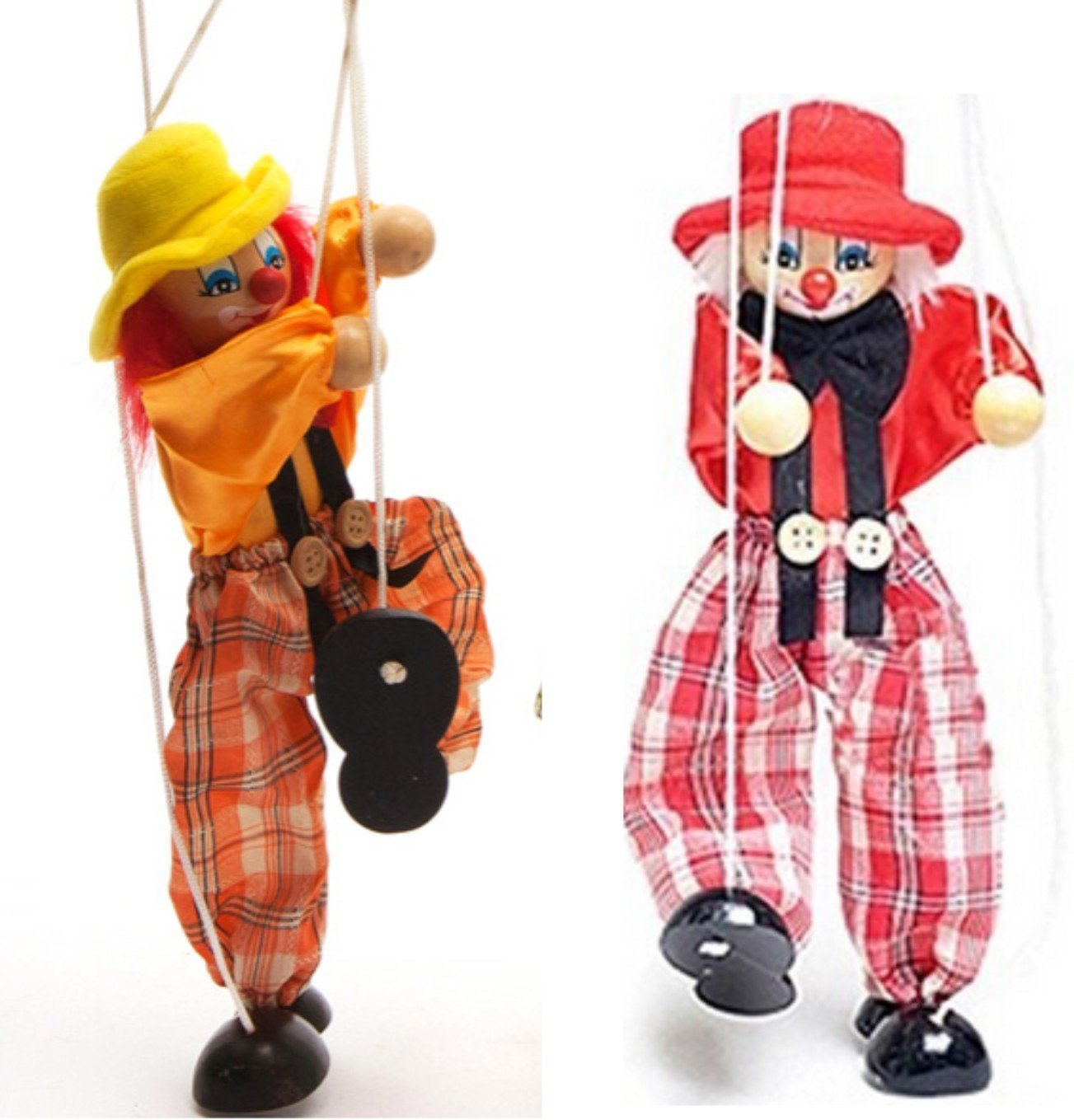 SWONVI 2 Packs Clown Hand Marionette Puppet Children's Wooden Marionette Toys Colorful Marionette Puppet Doll Parent-Child Interactive Toys-Yellow and Red