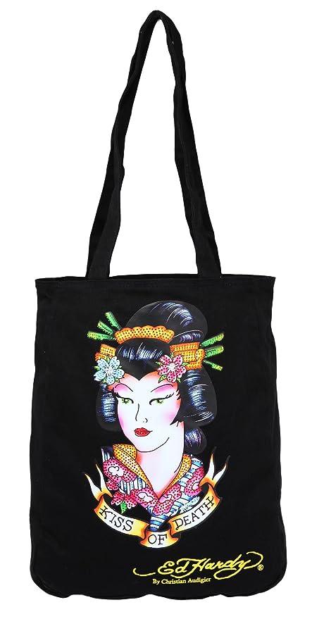 bef415fe77b ... ED Hardy Christian Audigier Women Tote Ness Geisha Black B3NESGEI-BK  wholesale dealer 9f0c7 8b212 ...
