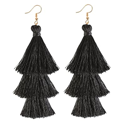 4c35251df66956 ELEARD Tassel Earrings Tiered Thread Tassel Dangle Earrings Statement Layered  Tassel Drop Earrings (3 Layers