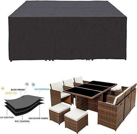 Funda para Muebles de Jardín, Copertura Impermeable para Mesas Rectangular Cubierta de Exterior Funda Protectora Muebles Mesas Sillas Sofás Exterior 420d Oxford Negro, Tamaño Personalizable: Amazon.es: Hogar