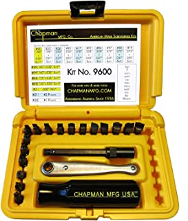 product image for Chapman MFG 9600 Starter Slotted Screwdriver Set - 20 Pieces - Includes 14 Slotted Head Insert Bits, 2 Phillips, Mini Ratchet, Screwdriver Handle, Extension + Open Slots, USA Made (Yellow Case)