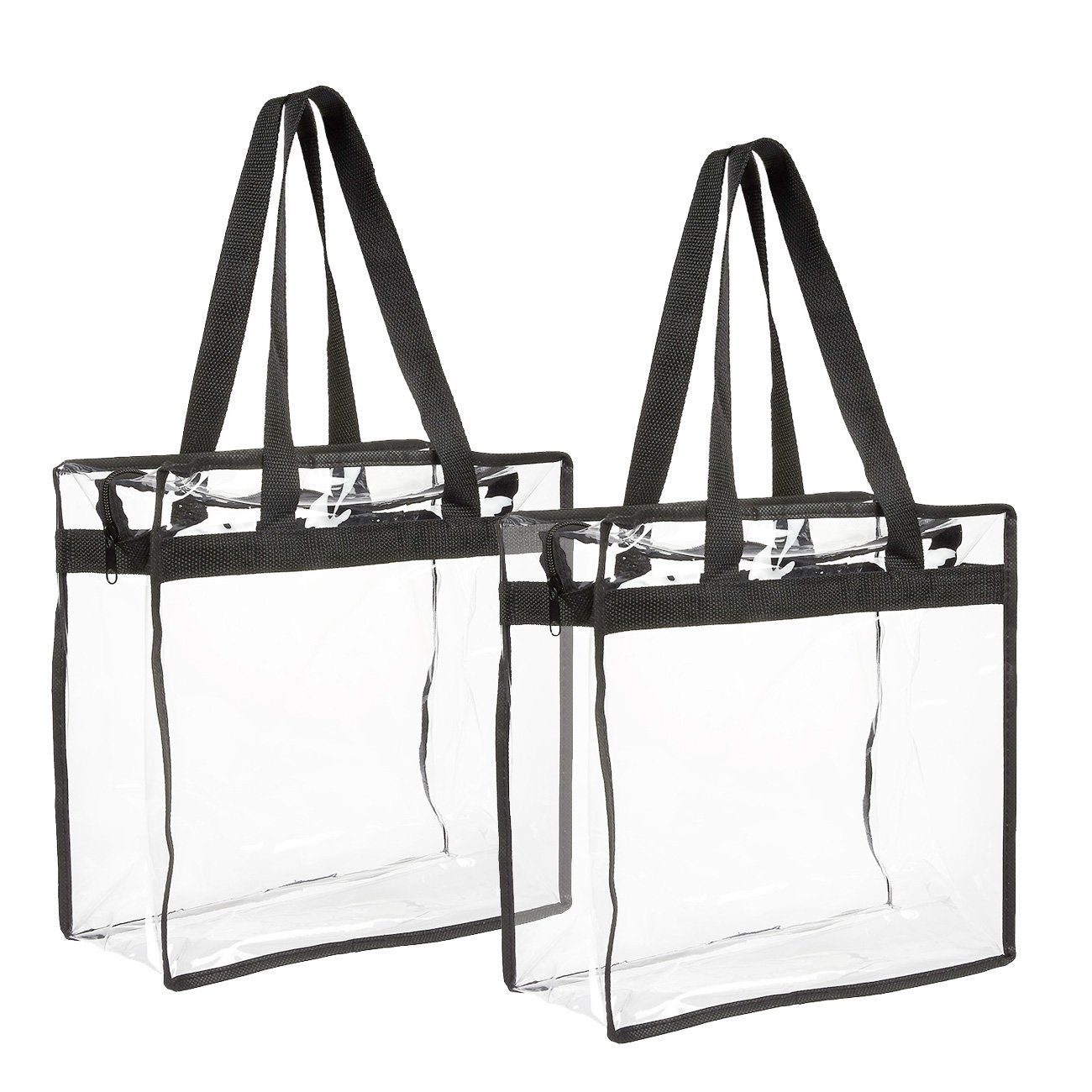 2-Pack Transparent Bag - Clear Tote Bag with Zipper - Stadium Approved 11.75