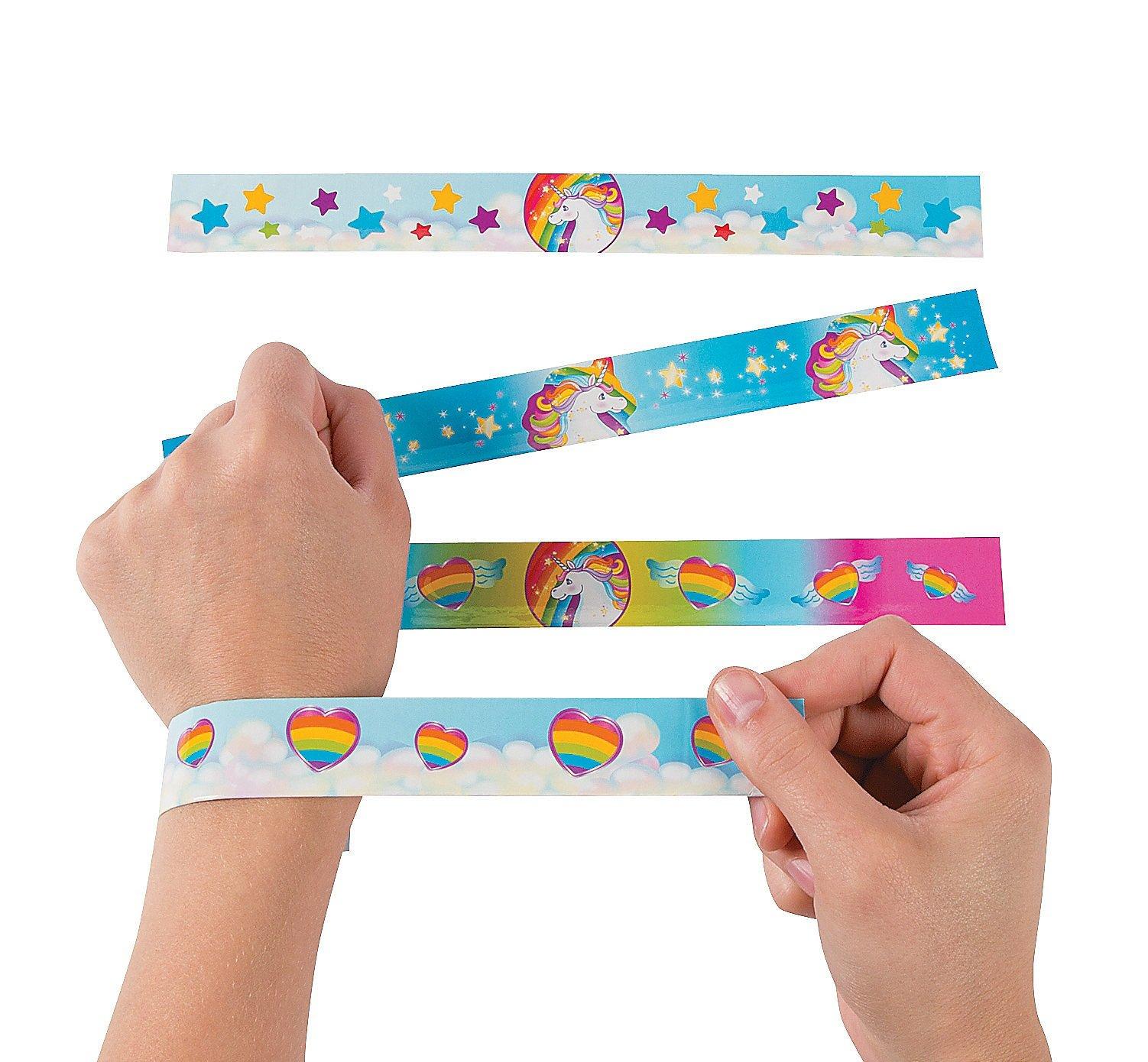 Fun Express Unicorn Metal Slap Bracelets - 12 Pieces
