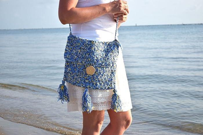 Crochet Tote Bag Hippie Handbag Blue Crochet Fringe Crossbody Bag