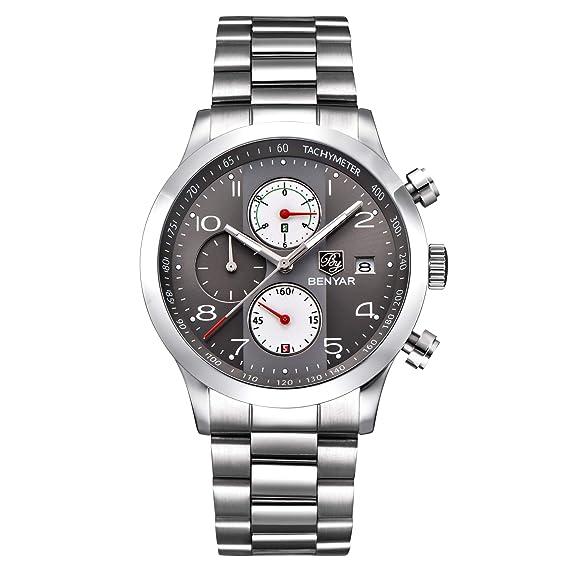 BENYAR Hombres Reloj Cronógrafo Impermeable Relojes de Negocios Deporte Acero Inoxidable Correa Reloj de Pulsera para Hombre: Amazon.es: Relojes