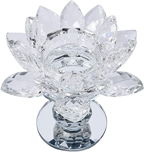 Shop LC Delivering Joy Table Home Decor White 2 Ball Base Lotus Crystal Candle Holder