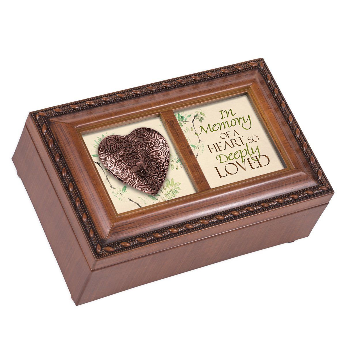 Cottage Garden in Memory of a Heart So Deeply Loved Woodgrain Rope Trim Jewelry Music Box Plays Amazing Grace