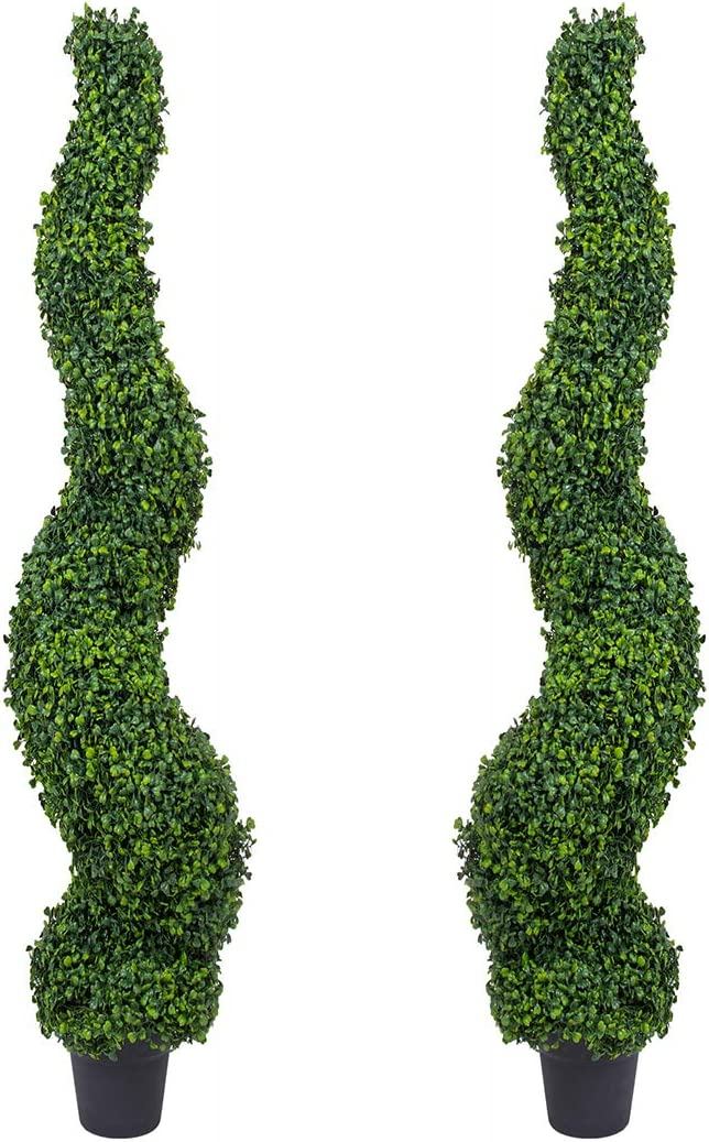 Binnny Flower 5' Artificial Spiral Boxwood Topiary Trees Potted for Home Office Front Porch Indoor or Outdoor Decor Set of 2 (5 FT)