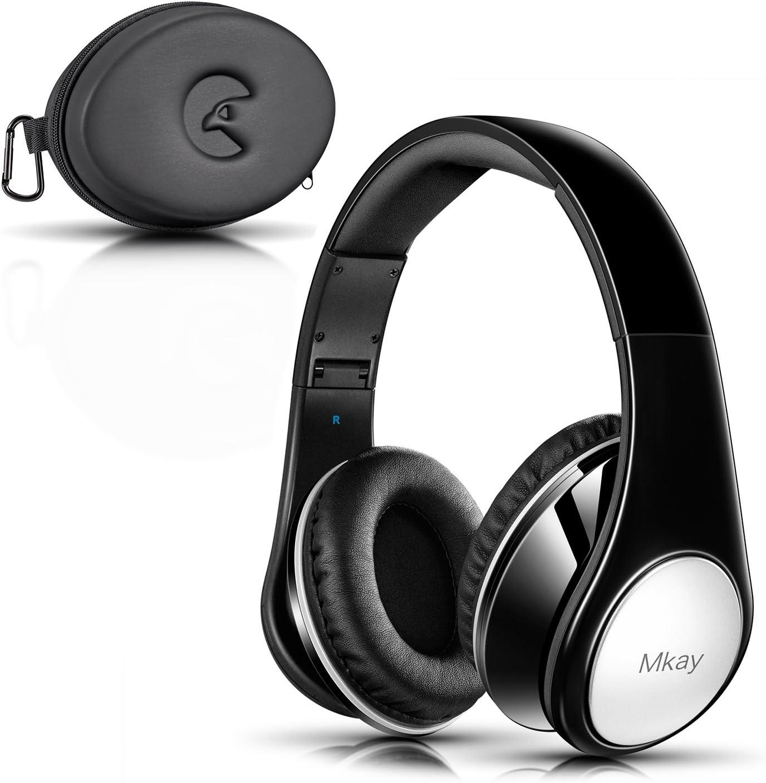 MKay オーバーイヤーヘッドホン Bluetooth 密閉型 高音質 ワイヤレスヘッドフォン Bluetooth V4.2 25時間音楽再生 1.5時間の高速充電 折りたたみ式 マイク内蔵 スマホ・タブレット・パソコンに対応 (ダークブラック)