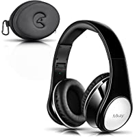 Bluetooth Headphones Over Ear, Mkay Hi-Fi Stereo Wireless Headset Bluetooth V4.2, Foldable with Mic, Wired and Wireless Headphones for Cell Phone/TV/PC/Travelling (Bright Black)