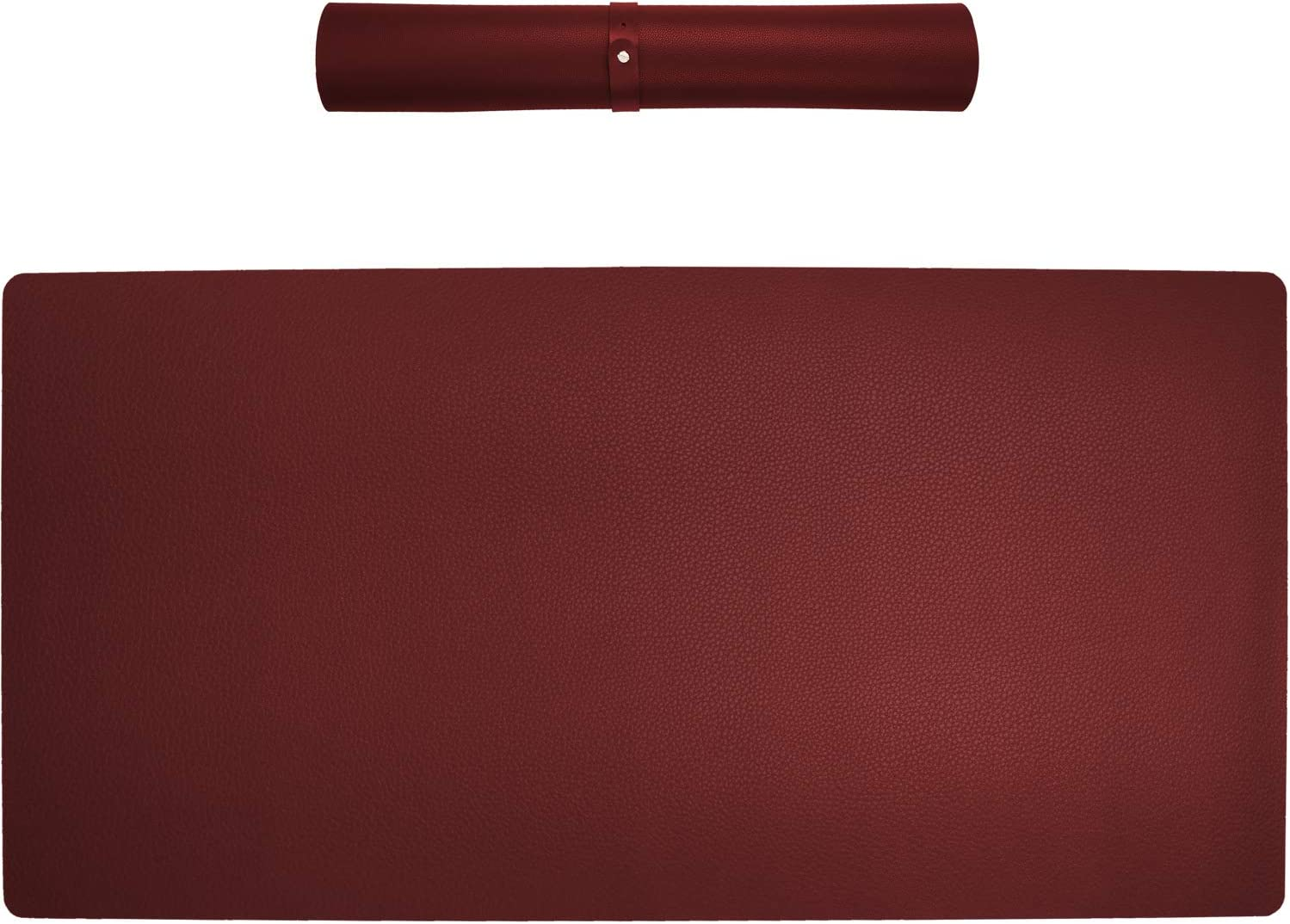 """Multifunctional Office Large Desk Pads Desktop Cover Mat,Waterproof PU Leather Protective Laptop Pads,Dual Use Writing Gaming Typing Blotters Mouse Pad Mats for Office or Home,35.5""""x16.9""""(Claret-Red)"""