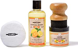 CLARK'S Cutting Board Finishing Kit | Orange-Lemon Scent | CLARK'S Cutting Board Oil (12 oz) - Cutting Board Wax (6oz) - Small Applicator - Buffing Pad