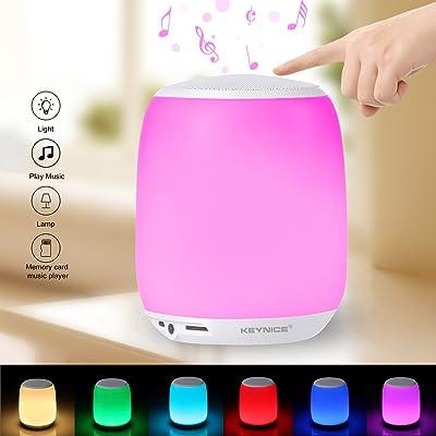 Keynice Lampe intelligente Lumière de nuit de klaxon Capteur tactile Intelligence lampe de chevet Éclairage de musique et haut-parleur Bluetooth sans fil TF Card Assist Haut-parleur de haut-parleur de soutien Ch