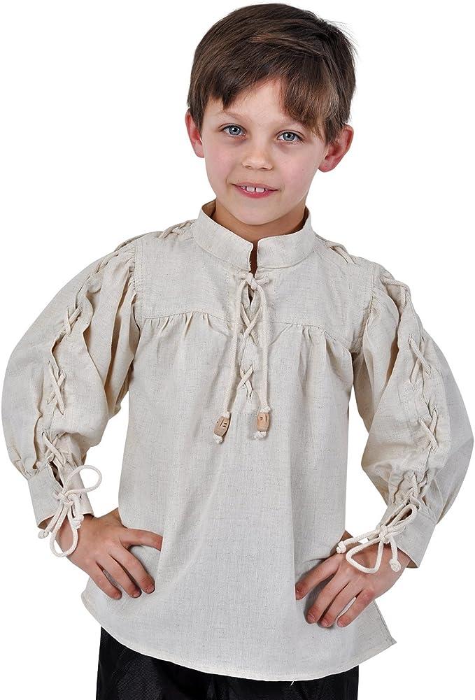 Camisa medieval infantil - de niño - acordonada en las mangas y el cuello - cómoda - blanca - 140: Amazon.es: Ropa y accesorios