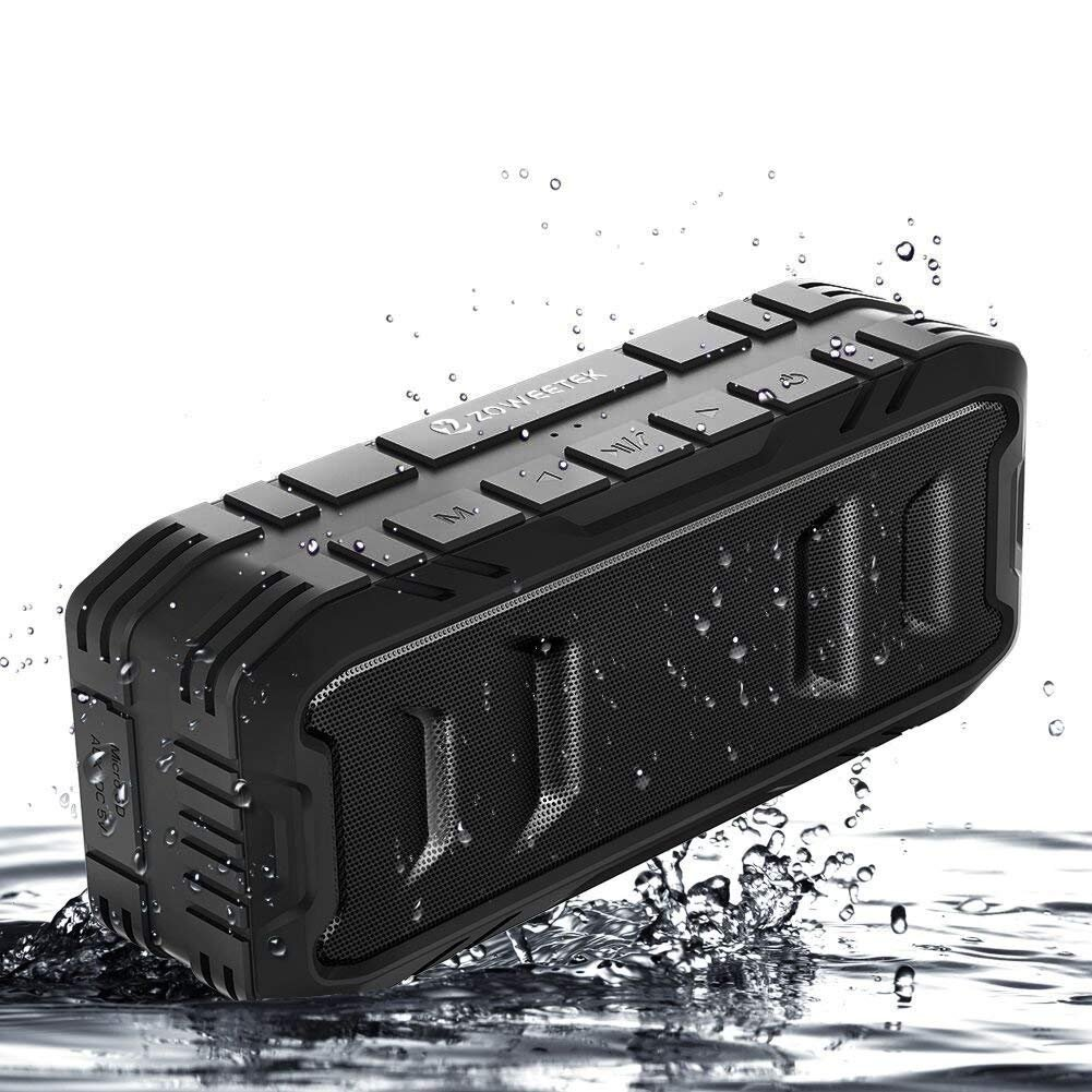 Bluetooth Speaker 20W, Zoweetek Bluetooth 4.2 Wireless Speaker with 24-Hour Playtime, TWS, Dual-Driver, Low Harmonic Distortion, Deep Bass, TF Card Slot for Outdoor Indoor (1 Pack)