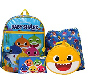 Baby Shark 5 PC School Backpack with Lunch Box Set for Boys and Girls