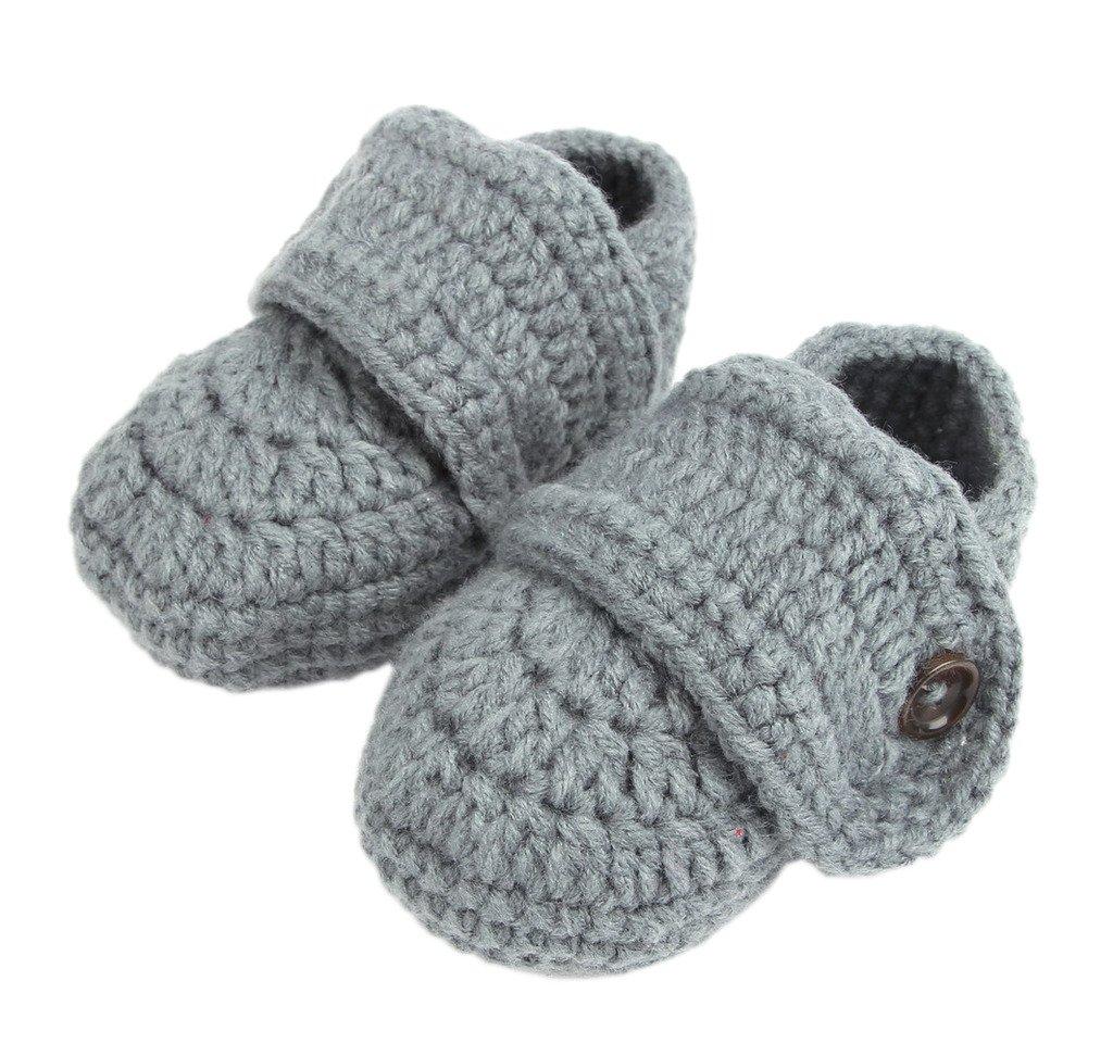 Bigood Strickschuh One Size Strick Schuh Baby Unisex sü ß e Muster 11cm Knopf Grau Stillleben