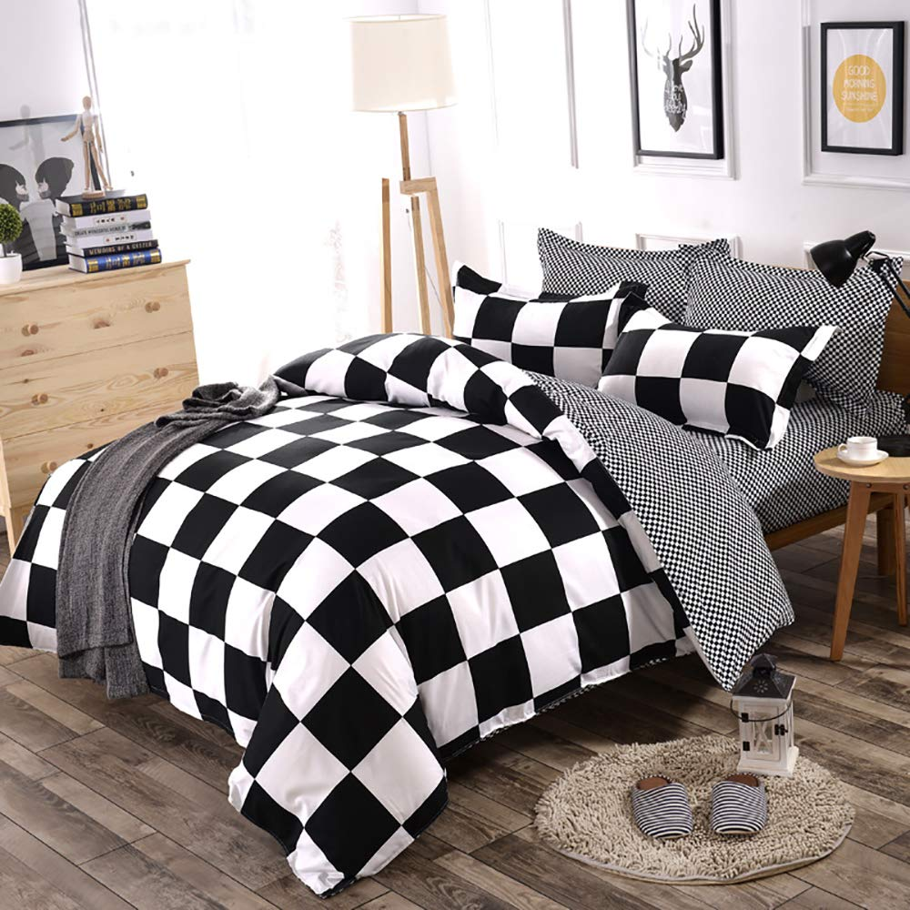 Classical Black and White Cotton Bedding Set Home Textile Bed Linen Duvet Cover Bedclothes Queen Size 3pcs 1 Duvet Cover + 2 Pillow