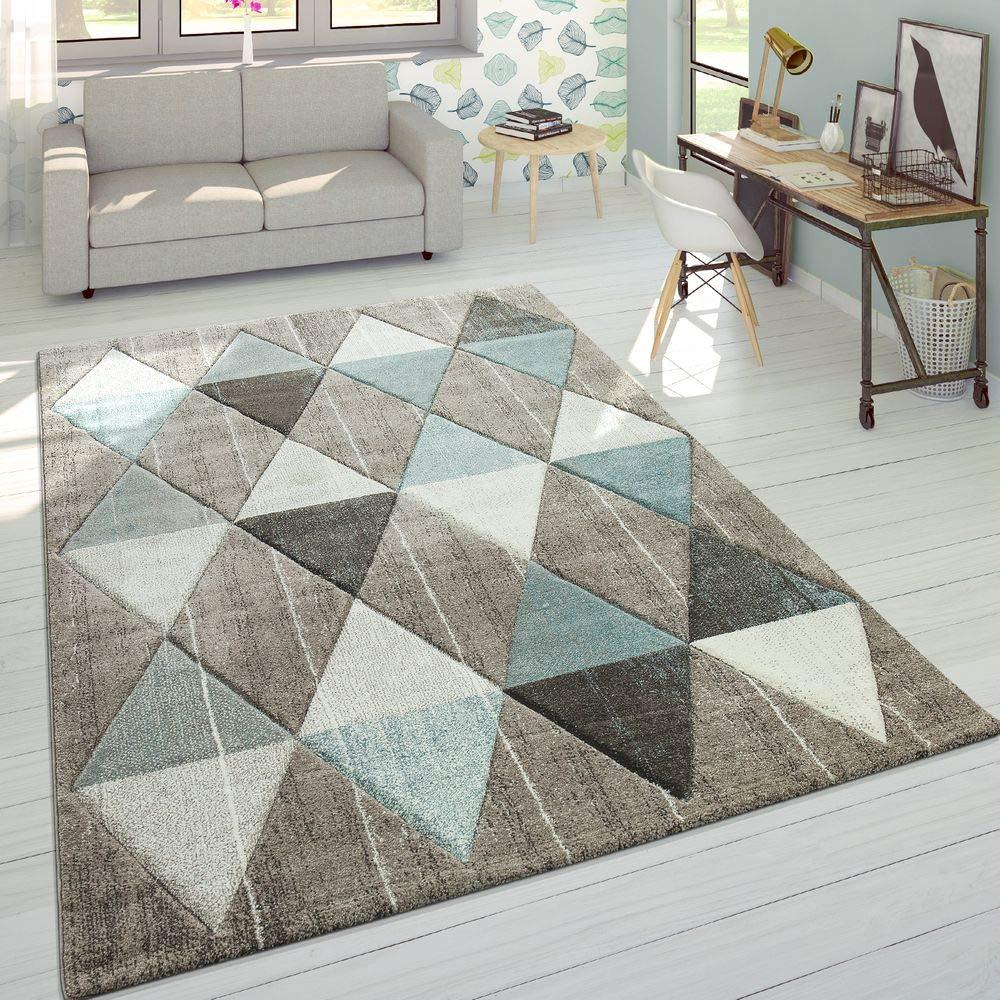 Paco Home Designer Teppich Modern Konturenschnitt Pastellfarben Rauten Design Beige Blau, Grösse 80x300 cm