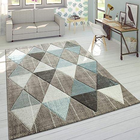 Alfombra De Diseño Moderna Contorneada En Colores Pastel con Rombos Beige Y Azul, tamaño: