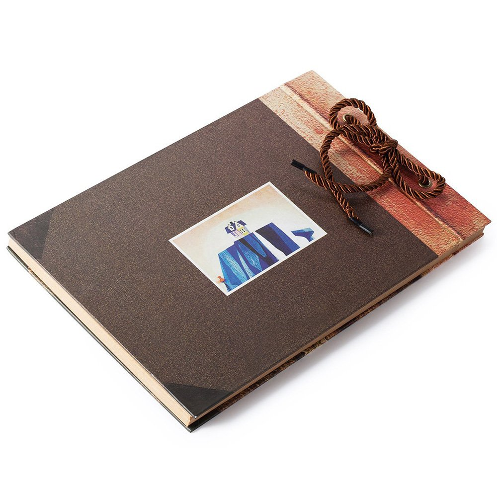 ToiM Hand Made Hardcover Loose Leaf Kraft Paper Folding Photo Album Memory and Record Book Journal Scrapbook for All Ages