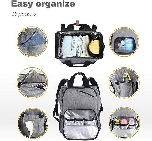 gris muchos bolsillos y mochila con bolsa de pa/ñales para viajes Space de almacenamiento Mochila con bolsa para cambiar pa/ñales para beb/és//correas de cochecito//bolsillos con aislamiento
