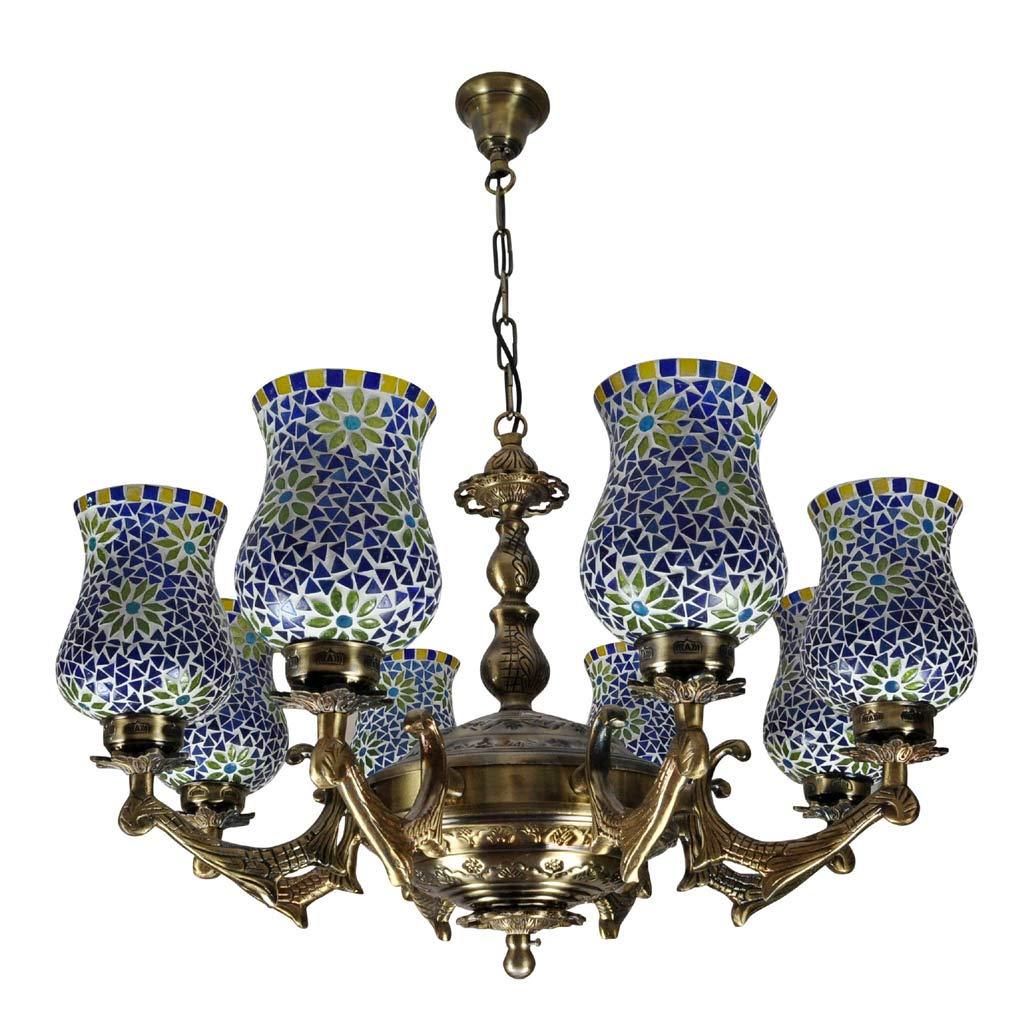 Lalhaveli ビンテージ エジソン 8ライト シャンデリア 真鍮 ポリッシュ仕上げ モザイクガラスシェード ホーム リビングルーム 装飾 33 x 31インチ B07PGYHGYZ
