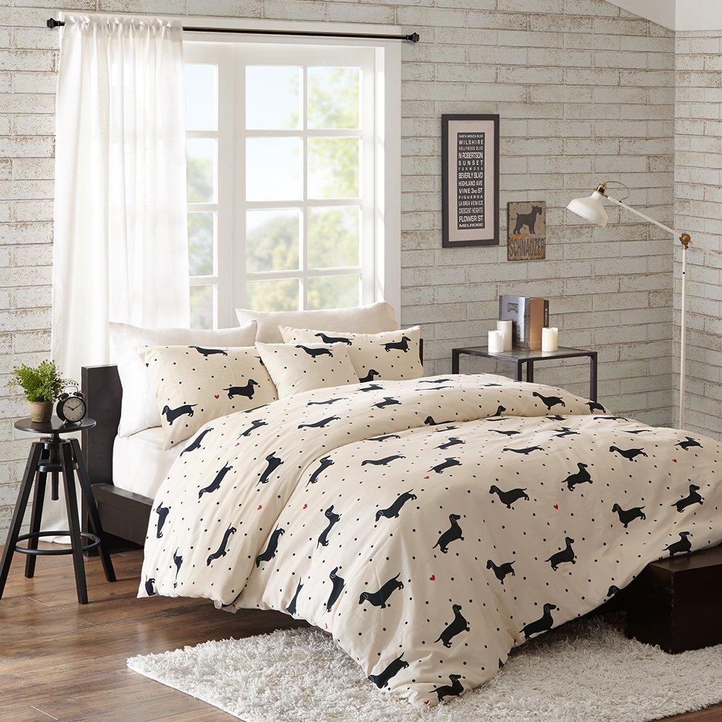 HipStyle Olivia Teen Girls Duvet Cover Set King Size - Beige, Aniaml Dog – 4 Piece Duvet Covers Bedding Sets – 100% Cotton Girls Bedding Bed Sets