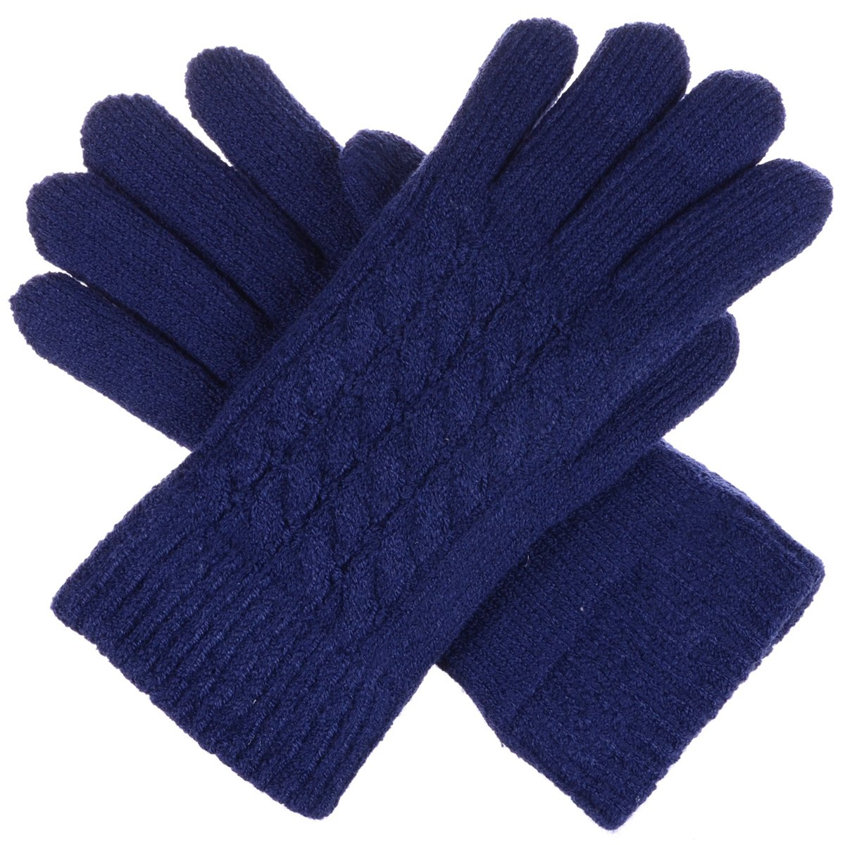 BYOS Women Winter Classic Cable Ultra Warm Soft Plush Faux Fur Fleece Lined Knit Gloves (Navy Cable)