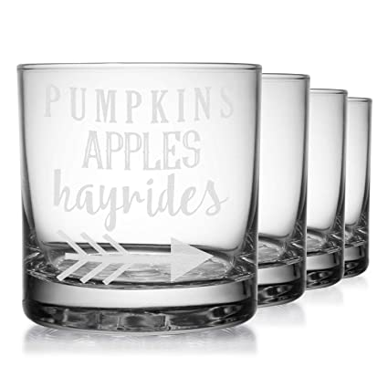 Amazon com | Fall Quotes and Sayings Whiskey Glasses (Set of