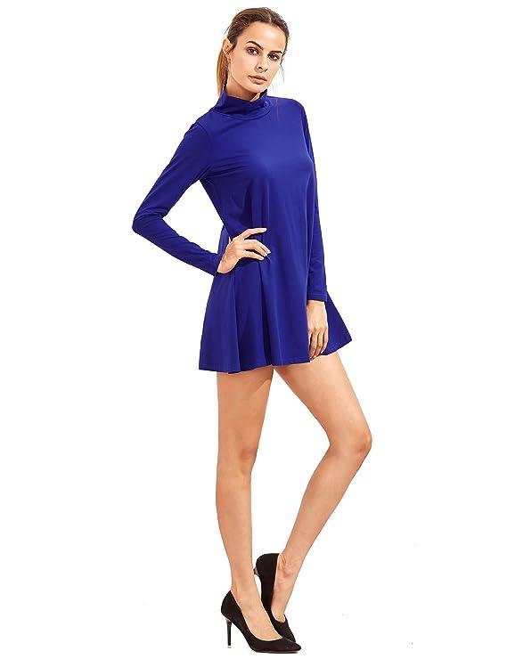 Shein - Vestido - Trapecio - Manga Larga - para Mujer Azul Azul Real Large: Amazon.es: Ropa y accesorios