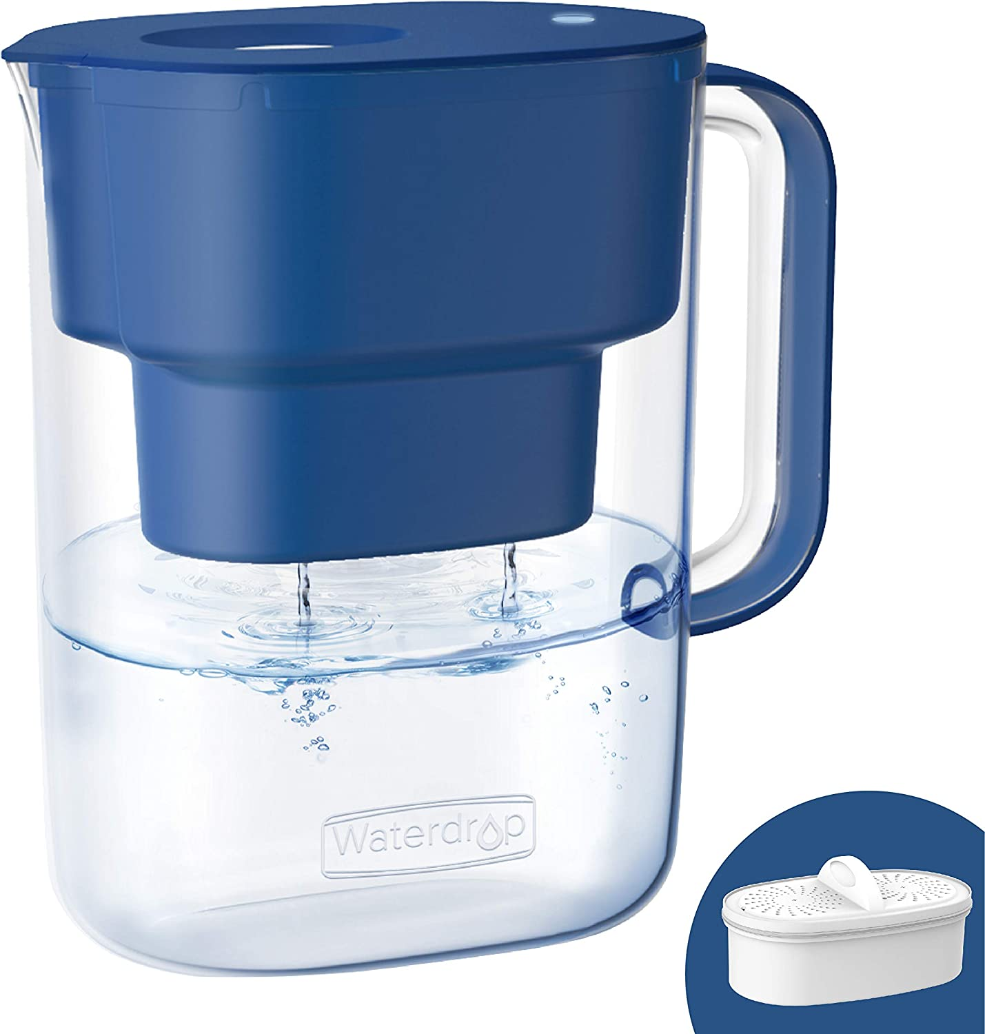 Waterdrop 10-Cup Water Filter Pitcher with 1 Filter, Long-Lasting (200 gallons), 5X Times Lifetime Filtration Jug, Reduces Lead, Fluoride, Chlorine and More, BPA Free, Classic Blue, Model: WD-PT-07C