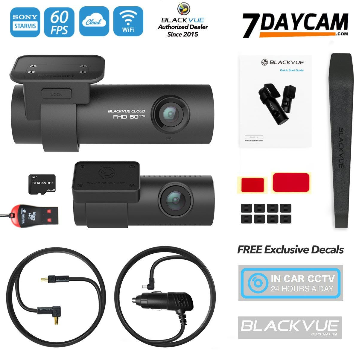 BlackVue DR750S-2CH 64GB Micro SD Card1080P 60FPS SONY Starvis Night Vision Parking Mode BONUS Free BlackVue Window Decal