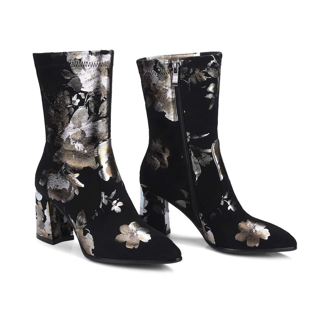 Botas de tacón Alto de tacón Alto de Moda Moda Moda de otoño e Invierno, Botas de Mujer, Negras, 34 2cdf69