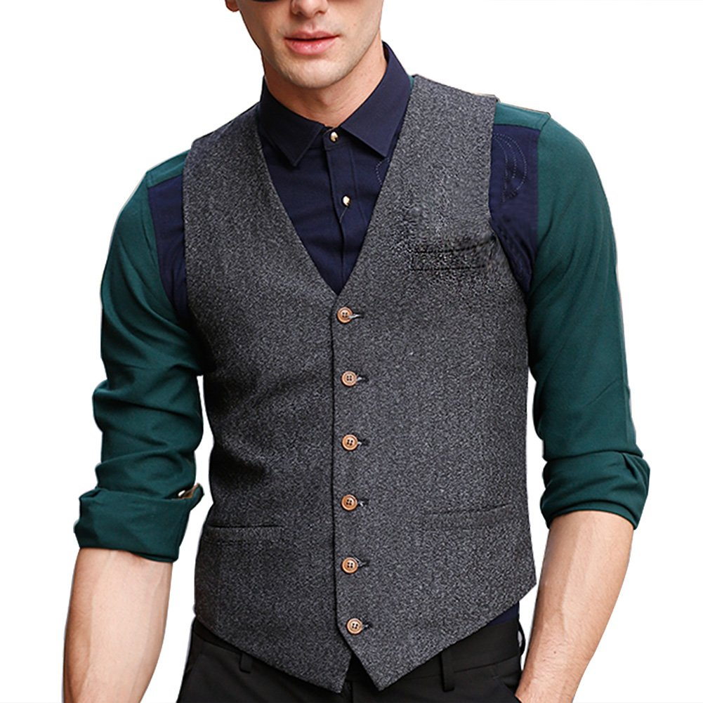Zicac Men's Unique Advanced Custom Vest Skinny Wedding Dress Waistcoat (XS, Gray)